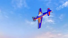 Stunt plane flying in blue sky,lake & mountain for training.long drag of smoke. Stock Footage