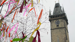 Easter markets - easter decorated tree with Old Town Hall in background Stock Footage