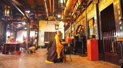 Buddhist service in Cheng Hoon Teng temple Chinatown Unesco Melaka Malacca Stock Footage