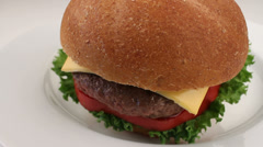 Appetizing Buffalo Cheeseburger Close Up Stock Footage