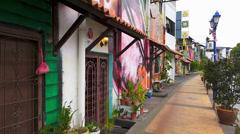 Melaka Malacca river houses painted colorfully Malaysia Asia Stock Footage