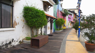 Stock Video Footage of Melaka Malacca river houses painted colorfully Malaysia Asia