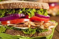 homemade turkey sandwich - stock photo