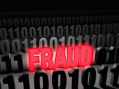 glaring computer fraud - stock illustration