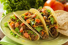 homemade ground beef tacos - stock photo