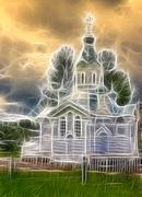 small orthodox church in borovichi, russia. fractal design - stock illustration