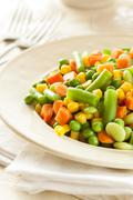 steamed organic vegetable medly - stock photo