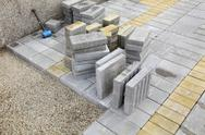 Stock Photo of construction site, brick paver