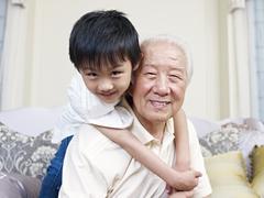 Grandpa and grandson Stock Photos