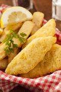 Traditional fish and chips Stock Photos