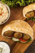 Organic falafel in a pita pocket Stock Photos