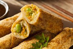 homemade chinese vegetable eggrolls - stock photo