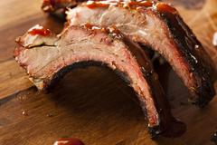 smoked barbecue pork spare ribs - stock photo