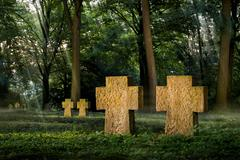cemetery in beautiful moody light - stock photo