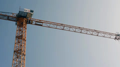 PRAGUE, CZECH REPUBLIC - MARCH 2014: Building construction with crane Stock Footage