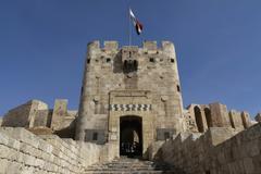 Aleppo Citadel Gate Stock Photos