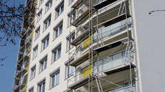 Scaffolding on a building Stock Footage