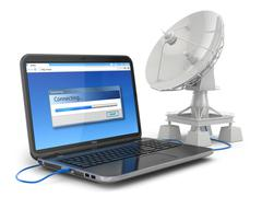wireless internet concept.  laptop and satellite dish. - stock illustration