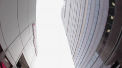 Fisheye shot of buildings in downtown Philadelphia Stock Footage