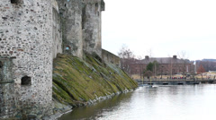 Tourists in front of St. Olaf's castle, Savonlinna Stock Footage