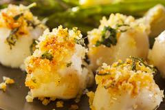 homemade breaded scallop seafood dish - stock photo