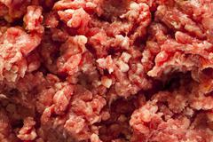 organic raw grass fed ground beef - stock photo