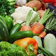 Fresh vegetables, fruits and other foodstuffs. Stock Photos