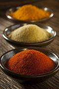 organic gourmet hot ground spices - stock photo