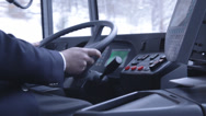 Stock Video Footage of Bus Driver At Steering Wheel (Cinestyle)