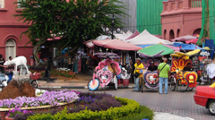 Melaka Malacca Red Square Rickshaw tour Tricycle Malaysia Asia Stock Footage