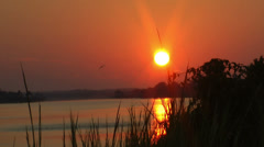 Inter-coastal waterway sunrise, Holden Beach, NC Stock Footage