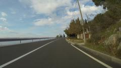 Driving on a Croatian coast road Stock Footage