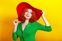 girl in shady hat - stock photo