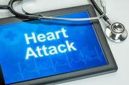 Stock Photo of tablet with the diagnosis heart attack on the display