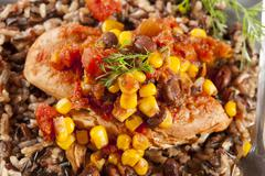 Southwestern chicken with rice and corn Stock Photos