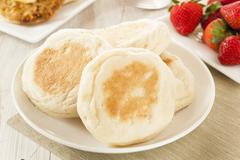 Organic whole wheat english muffins Stock Photos