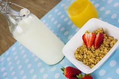 Diagonal view of a hesalthy breakfast Stock Photos