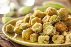 Organic homemade fried green okra Stock Photos