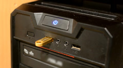 Take out USB memory from desktop PC Stock Footage