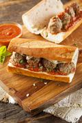 hot and homemade spicy meatball sub sandwich - stock photo