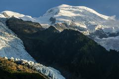 panoramic view of mont blanc massif. bossons glacier in the french alps. fran - stock photo