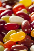 Colorful mixed fruity jelly beans Stock Photos