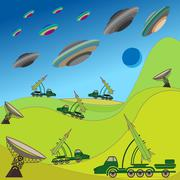 flying plates of aliens are attacking the earth - stock illustration