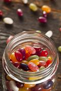 colorful mixed fruity jelly beans - stock photo