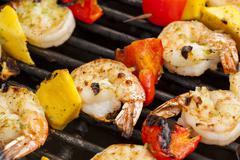 homemade shrimp shish kebab - stock photo