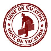 gone on vacation stamp - stock illustration