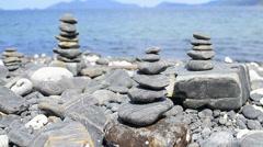 Beautiful black stone beach of lipe island, thailand Stock Footage
