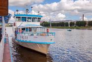 Stock Photo of river cruise passenger catamaran at the moored on volkhov river