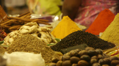 Different spices at Goa market Stock Footage