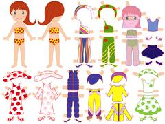 paper doll and a set of clothing for the summer season - stock illustration